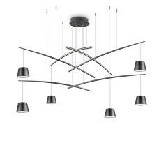 37W suspended lamp with 6 lights FISH, 3000K, black
