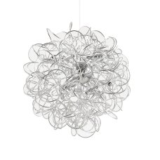 Suspended lamp with 12 lights DUST, G9, silver color